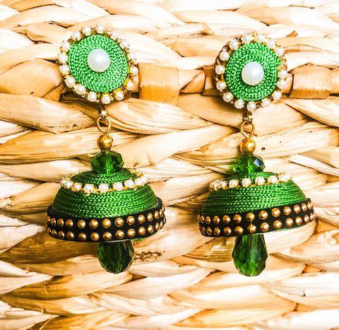 Green Silk Jhumka