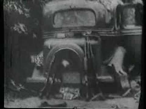 "A 16mm film shot by posse member Ted Hinton just minutes after Bonnie and Clyde were fatally ambushed by officers near Gibsland, Louisiana, on May 23, 1934. The so-called ""Death Car"" was released to its owner, Ruth Warren of Topeka, Kansas, only after she filed a lawsuit against the sheriff."