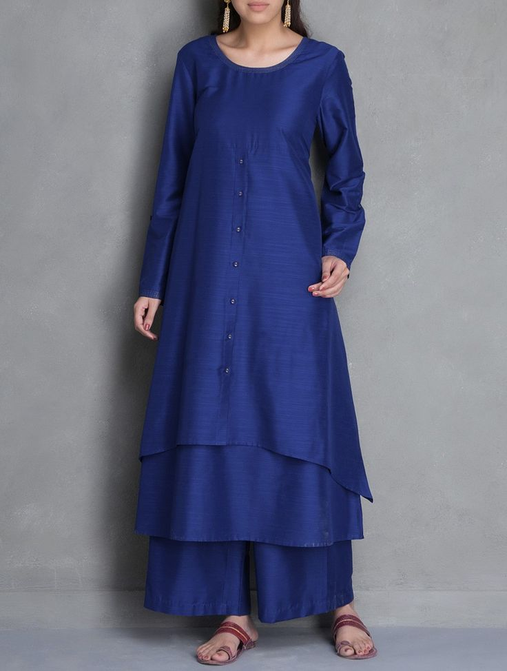 Buy Royal Blue Layered Asymmetric Cotton Silk Kurta Apparel Tunics & Kurtas Desert Imprints Sanganeri Hand Block Printed Palazzos and More Online at Jaypore.com