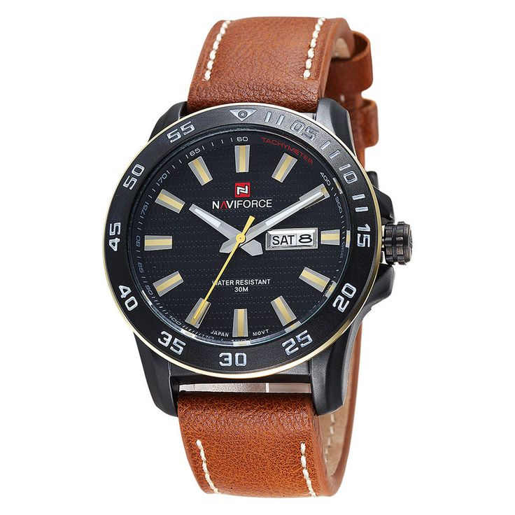 NAVIFORCE 44mm Genuine Leather Band Mens Military Watches Date Quartz Cuff Watch #NAVIFORCE #Military