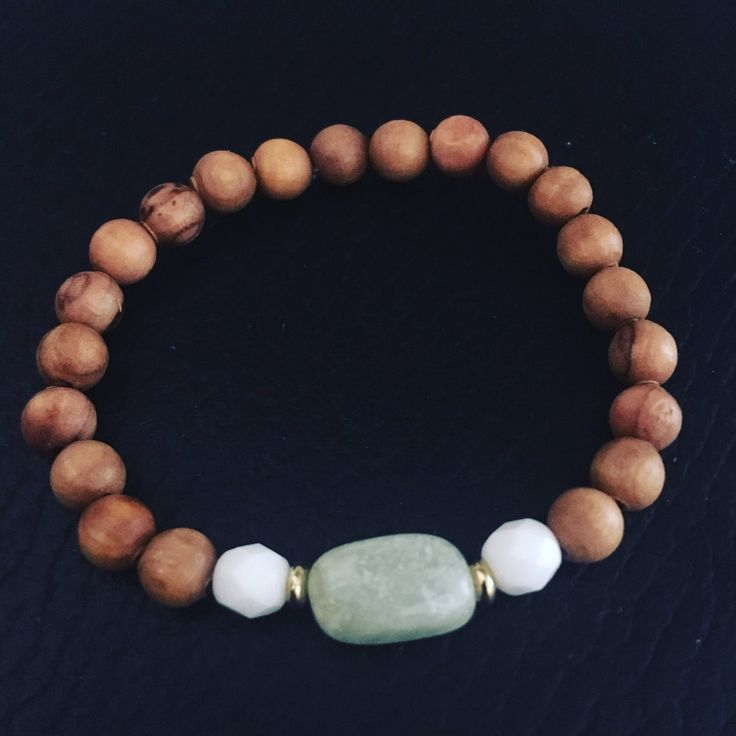 New jade with olive wood healing bracelet by EssennzDesigns on Etsy