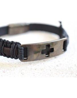 Ανδρικό Βραχιόλι Black Leather & Gunmetal Plate