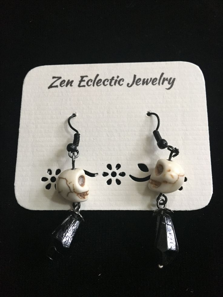 Howlite Skull Earrings - the perfect addition to any costume. Perfect for the Halloween lover in all of us!