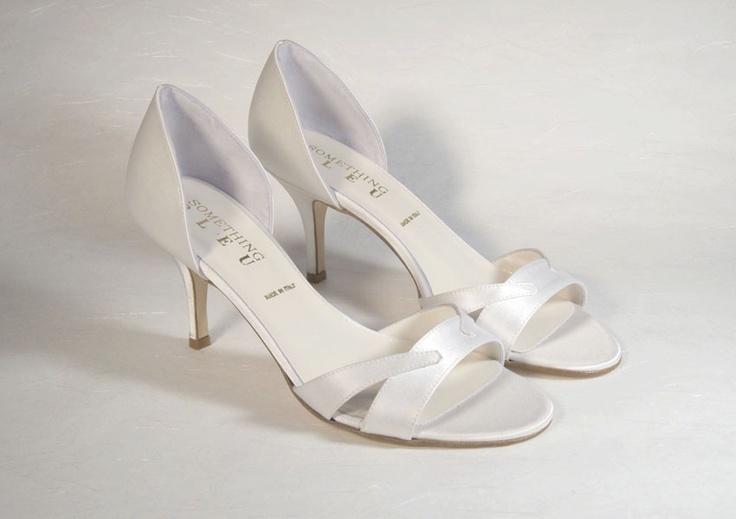 Scenari by Something Blue   8 cm. heel height. Dyeable diamond white satin silk Sizes 36-41 incl. 1/2 sizes