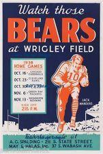 Chicago Bears Season Schedule Poster 1938 Wrigley NFL Vintage Football 8 x 11