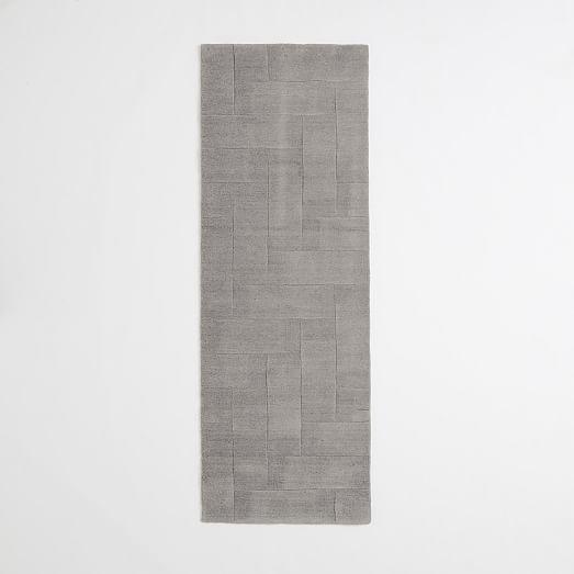 Solid Angled Basketweave Wool Rug - Platinum