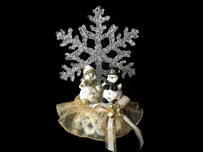 A personal favorite from my Etsy shop https://www.etsy.com/ca/listing/207439813/gold-christmas-ornament-with-snowmen