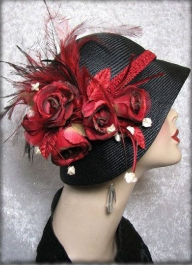 Black Straw Cloche hat 1920s Flapper Hat - Dorothy Parker -love the hat, but...too much flowers for me-