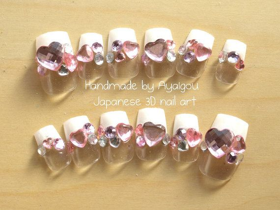 Japanese fake nails, Honoka, white french nails with jewels deco