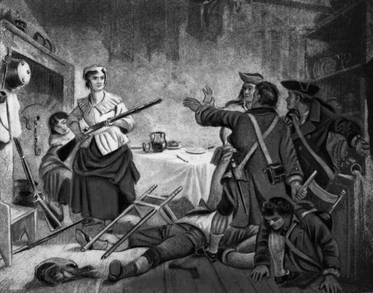 Stories of women in combat date back to the Revolutionary War. Nancy Morgan Hart, depicted here, became known as a Revolutionary War heroine after defending her home and children against invading British soldiers. The story goes that she fed British soldiers, who demanded food and drinks, in her home and while they weren't looking, Hart turned their own guns on them.