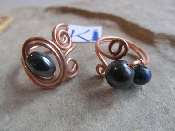 Magnetic Hematite  or Azurite Copper Ring by KiCrystalCreations