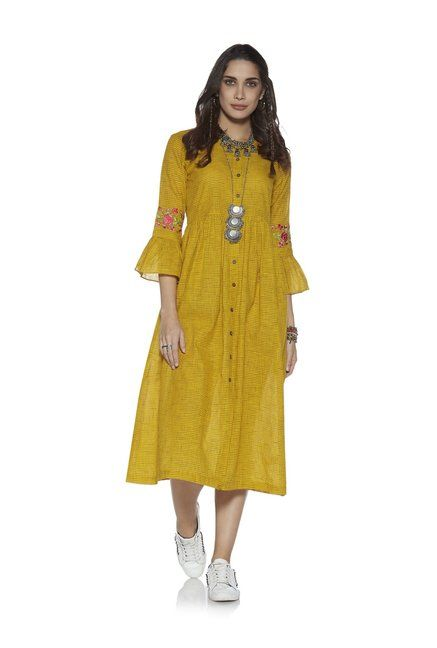 c58352247f9 Bombay Paisley by Westside Yellow Fit-And-Flare Check Dress ...