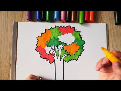 HOW TO DRAW Autumn Tree - coloring with markers - YouTube | Art for ...