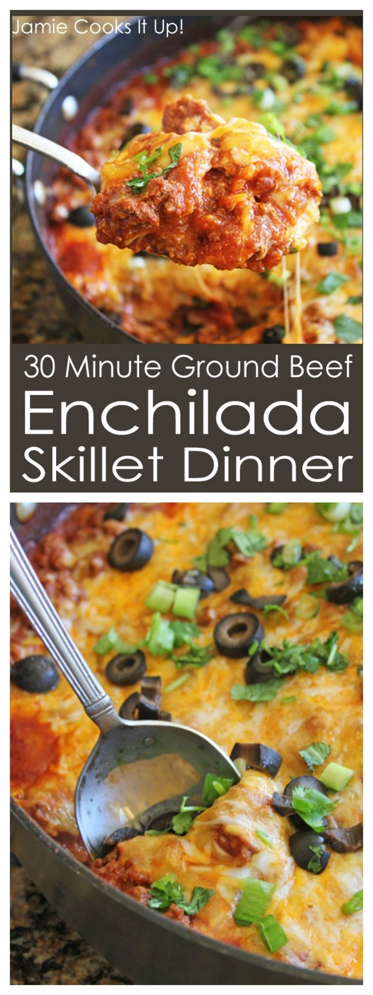 30 Minute Ground Beef Enchilada Skillet Dinner, this one is a real crowd pleaser. If Mexican Food in 30 minutes is your kind of thing. :)