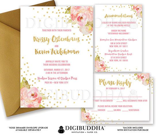 White And Boho Chic Pink Watercolor Peonies And Gold Glitter Confetti Dots Wedding  Invitations In A 3 Piece Suite Including RSVP Reply Card And Details ...