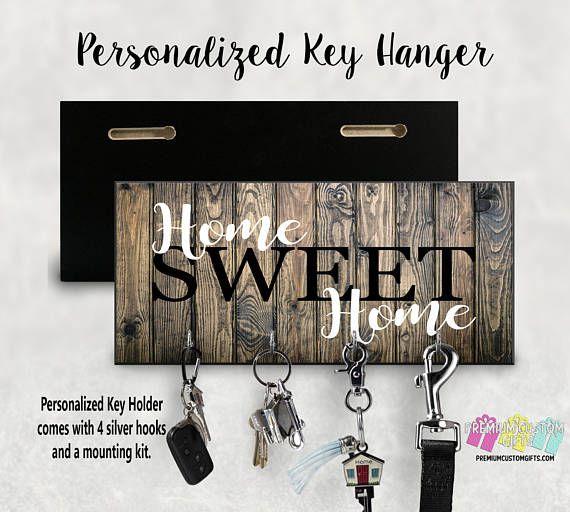Wood Key Rack Holder Key Hanger With Wood Look Background Personalized Key Holder For Wall Customkeyhanger Decoracion Con Madera Decoracion De Unas Llaveros