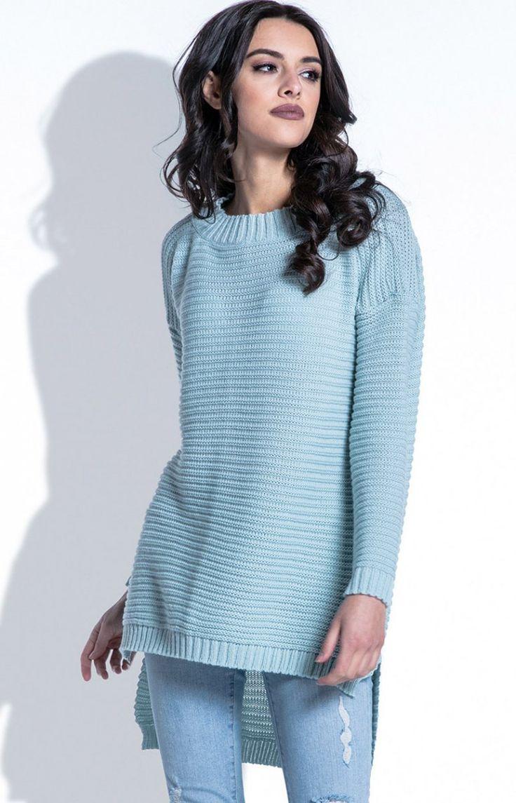 Fobya F402 sweter pistacjowy Komfortowa tunika damska, luźny fason, wykonany z miękkiej prążkowanej dzianiny