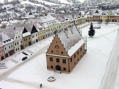 Winter in Bardejov,The Town Hall Square, Bardejov, Slovakia