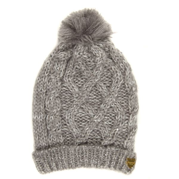 Jane Norman Grey Sequin Cable Beanie Hat