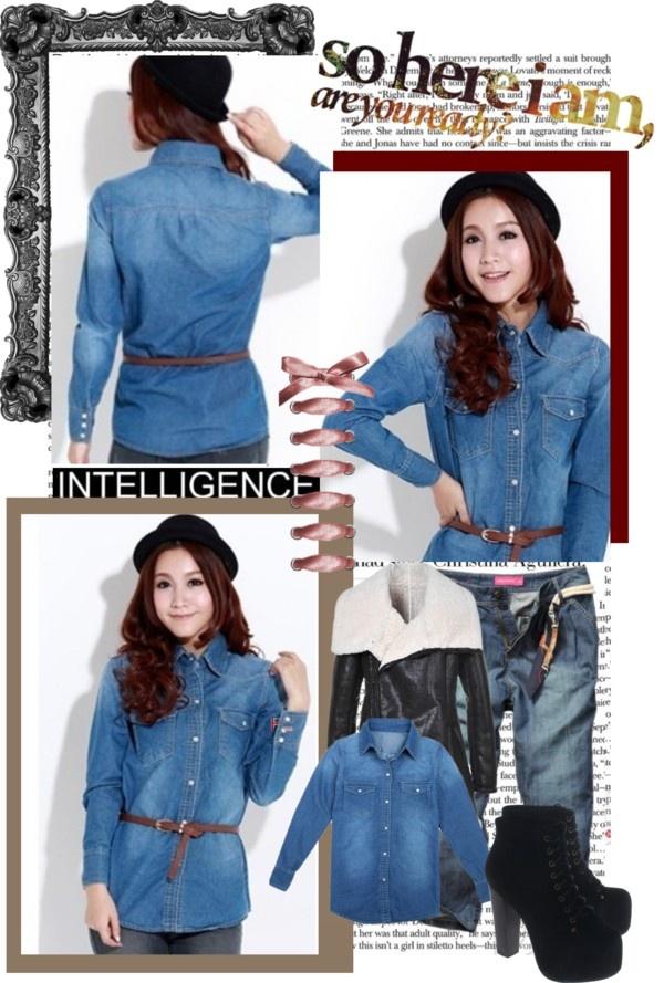 """Women Dark Blue Jean Shirts"" by fashionsara1987 on Polyvore"