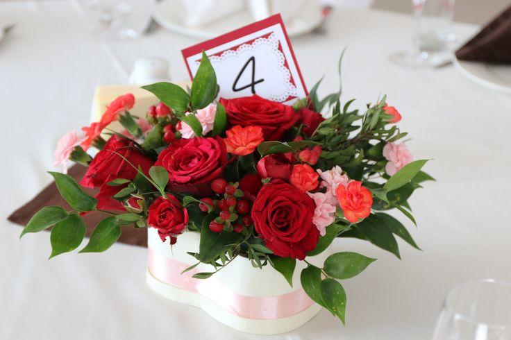 Красная свадьба. Оформление столов гостей. Розы, ранункулус, кустовые гвоздики и фрезии
