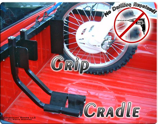 Truck Motorcycle Wheel Chock from Discount Ramps transports up to three motorcycles in a pickup truck bed with either a grip or cradle design. Rack requires no drilling. $299.00