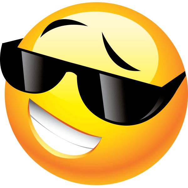 Some smileys are so cool they have to wear shades even at night.