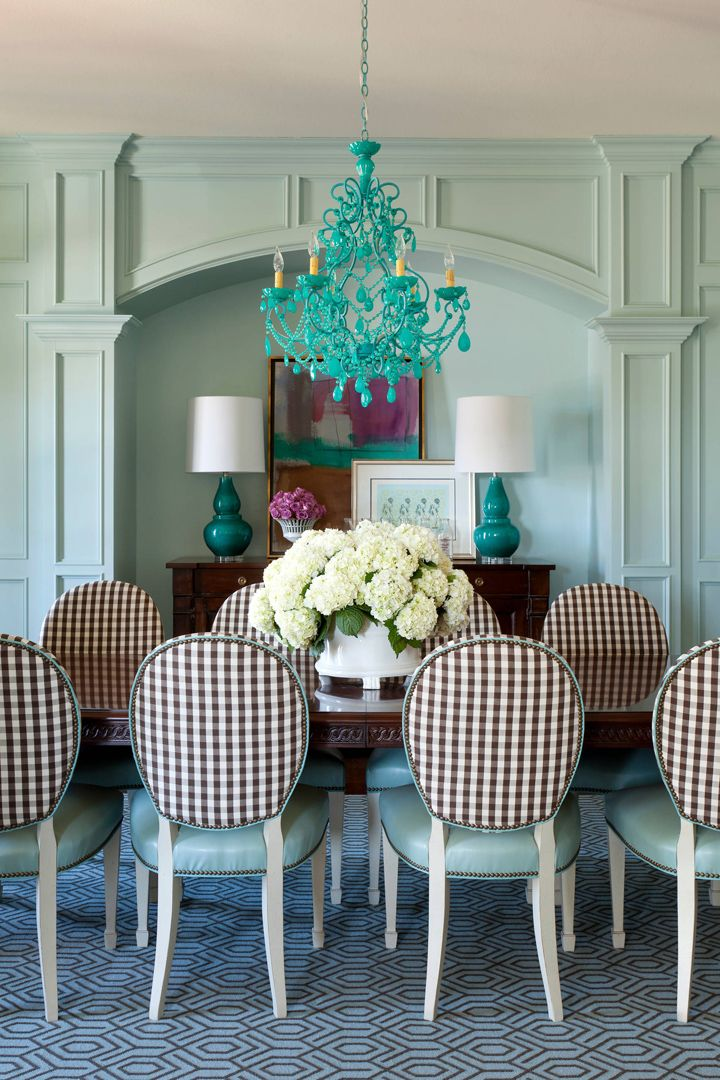turquoise dining room by Tobi Fairley Interior Design