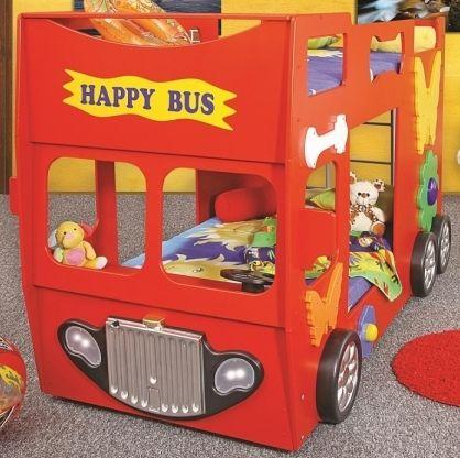 Rotes Etagenbett in Busform für Kinder.
