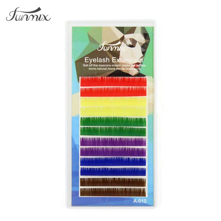 Brand  0.1 C  individual mix colors eyelash Natrual soft  candy Color eyelash Eyelash Extension Makeup Colorful False Eyelash