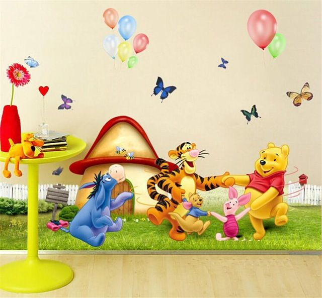 Unique HOT winnle pooh bear wall stickers kids room decoration adesivos de paredes home decals animal mural