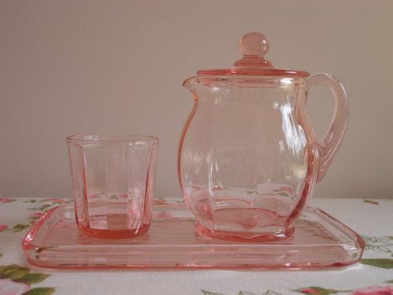New Martinsville Pink Depression Glass Guest Set