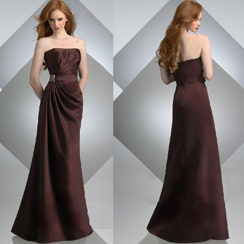 Elegant Brown Strapless Mother of the Bride Evening Gowns Clothing SKU-1040021