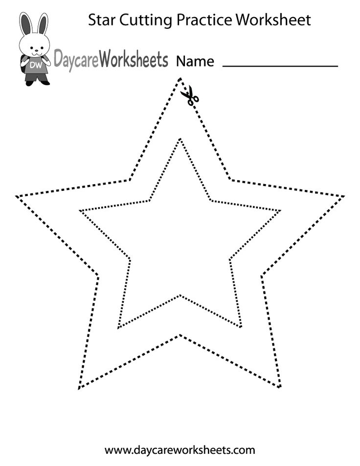 Preschoolers have to use scissors cut along the dotted lines that are in the shape of two stars in this free activity worksheet.