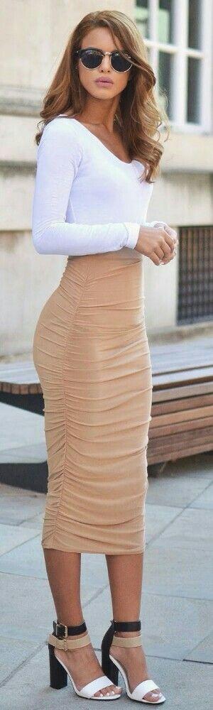 Pretty Little Thing White Bodysuit Camel & Slinky Midi Skirt, Colour Block Heels / Fashion by Nada Adelle