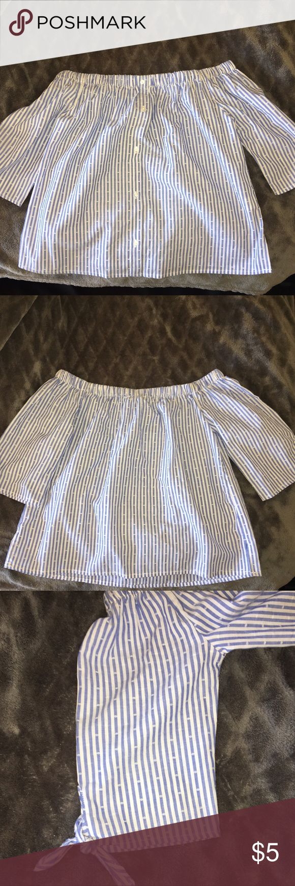 Striped off the shoulder shirt Primark SZ. 6 (runs alittle small). NWT. 100% cottons light blue vertical stripes.? primark Tops Blouses