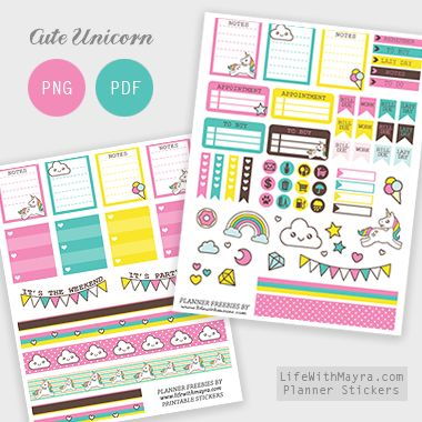 Free Printable Cute Unicorn Planner Stickers {PDF, PNG and Silhouette files} from lifewithmayra