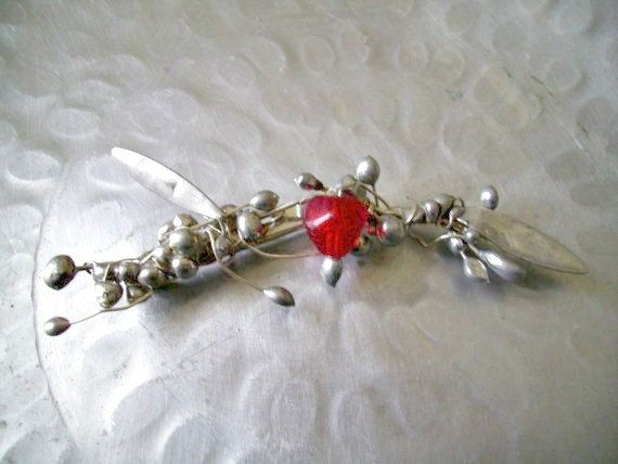 Pomegranate Brooch. Red Stone Brooch. Art by JirjiMirjiOneofaKind, €42.50