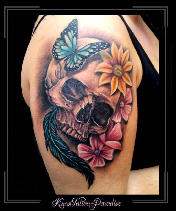 tattoo kim 39 s tattoo paradise skull bloemen vlinder kimstattooparadise pinterest bloemen. Black Bedroom Furniture Sets. Home Design Ideas