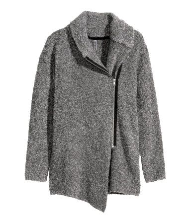 Light gray bouclé cardigan with shawl collar, long sleeves, and side zip. | Warm in H&M