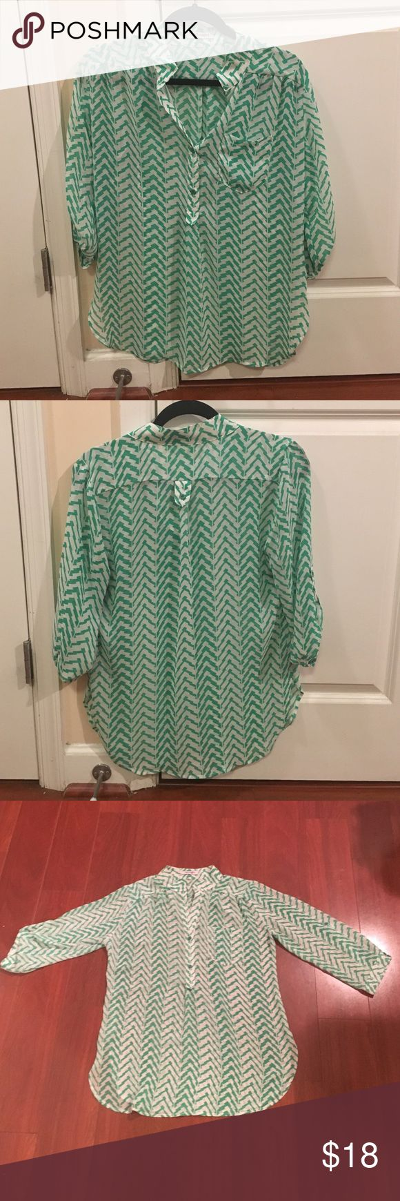Green Chevron Blouse 3/4 sleeve green chevron Blouse with adjustable sleeve button detail.  Perfect condition! Tops Blouses