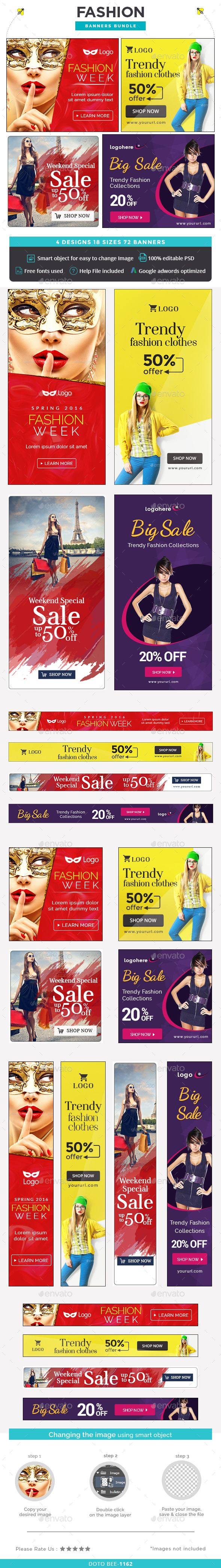 Fashion Web Banners Bundle - 4 Sets Template PSD. Download here: http://graphicriver.net/item/fashion-banners-bundle-4-sets/15015941?ref=ksioks