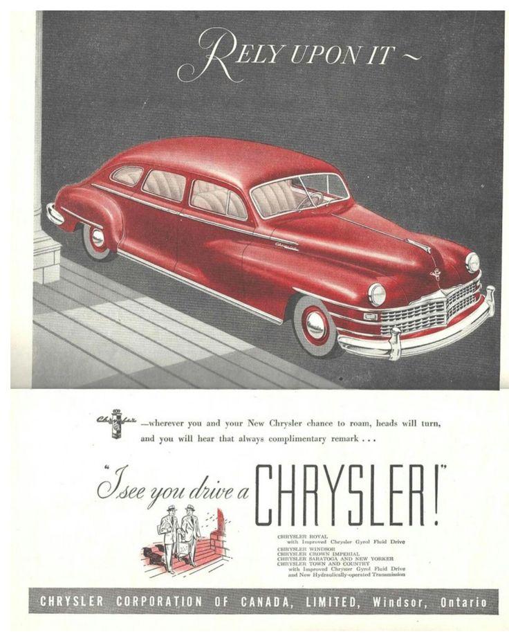 1947 Chrysler Canada Vintage ads, Car ads, Ads