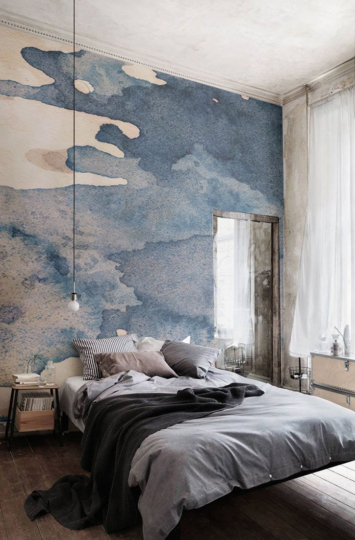 This beautiful blue and gray watercolor mural makes a dramatic accent wall in a modern bedroom design - Unique Bedroom Ideas & Decor - Watercolor Wallpapers from Murals Wallpaper
