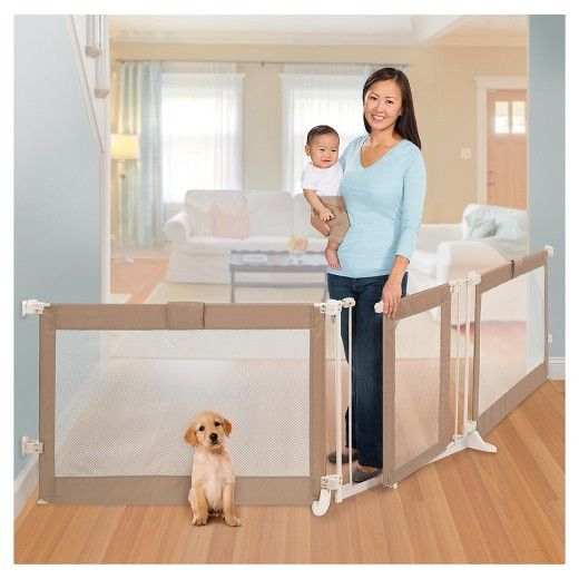 """The Summer Infant® Custom Fit Baby Gate in Grey provides both protection for children and style for the home. Made from quality materials, this stylish, extra wide gate can be used with either 2 or 3 panels, and accommodates openings from 65"""" to 143"""" wide, allowing parents to configure the gate in odd shaped spaces, extra wide openings and even to create play areas in corners of the home.<br><br>• Hardware mounted installation for use between ..."""