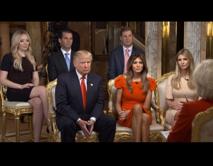 60 MINUTES Correspondent Lesley Stahl interviews President-elect Donald J. Trump and his family shown here from left: Tiffany Trump, Donald Trump, Jr., Donald Trump, Eric Trump, Melania Trump, Ivanka Trump at his Manhattan home (November 11, 2016).