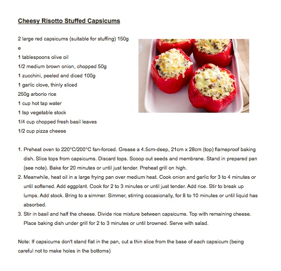 Cheesy risotto stuffed capsicums