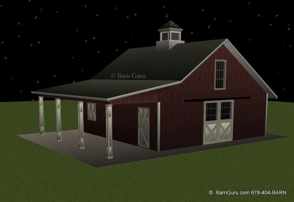 Barn plans stall horse barn with lean too design floor for 4 stall horse barn plans