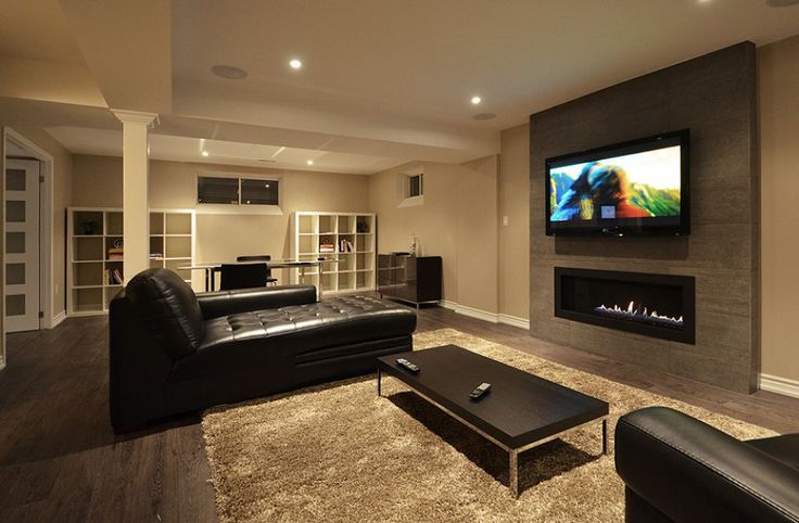Open concept finished basement accent wall for tv for Modern finished basements