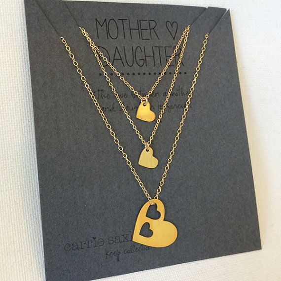 Mother Daughter Necklace Set - 2 daugthers - Mothers necklace - gold hearts - mother's day - mom gift - push present